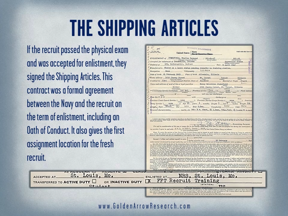 WWII Navy enlistment shipping articles contract for a naval recruit.