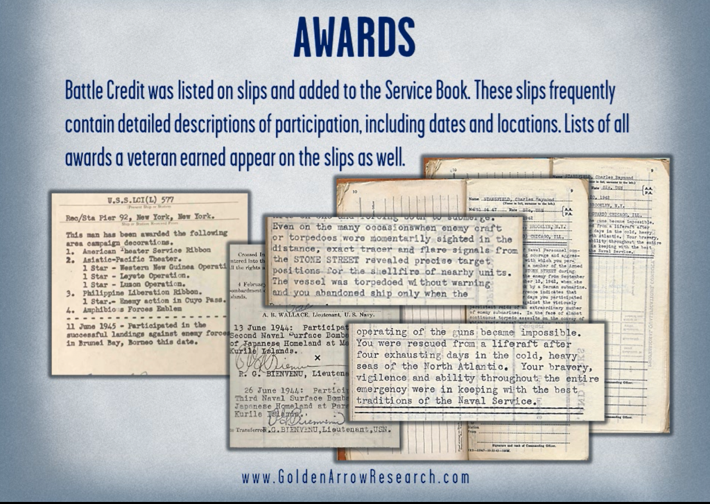 awards and decorations from the WWII navy service records OMPF official military personnel file