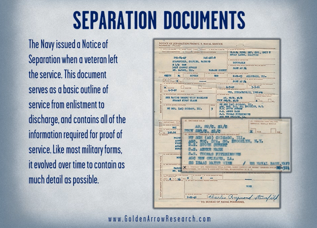 separation documents from the military service record OMPF of a WWII navy veteran