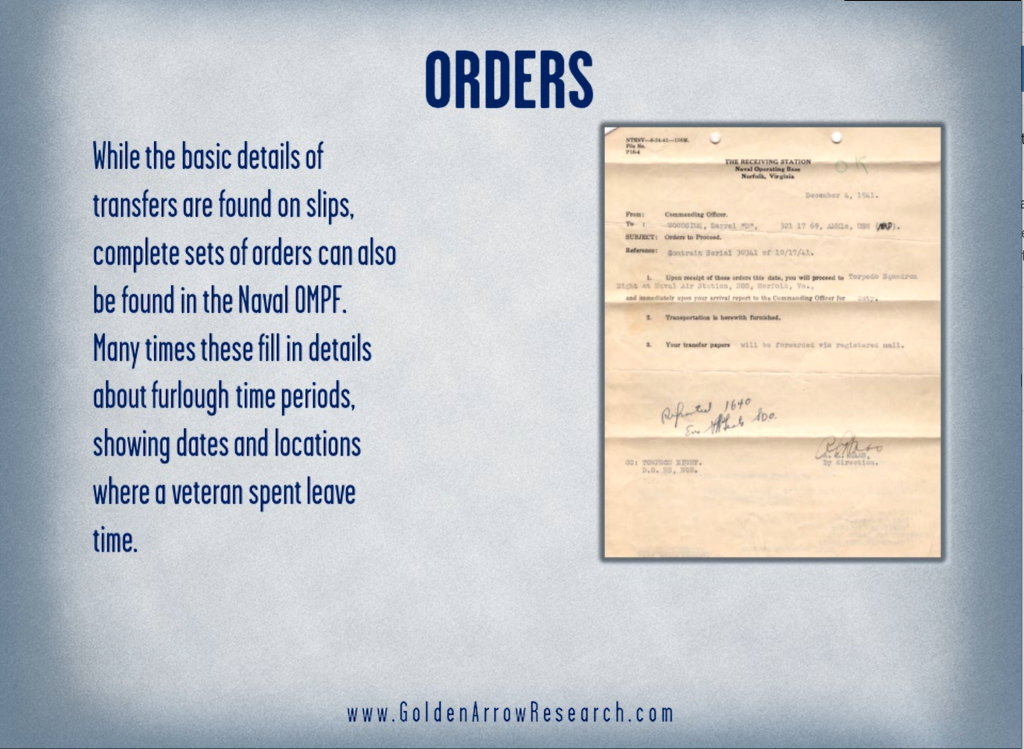 WWII orders from the navy service record book OMPF official military personnel file