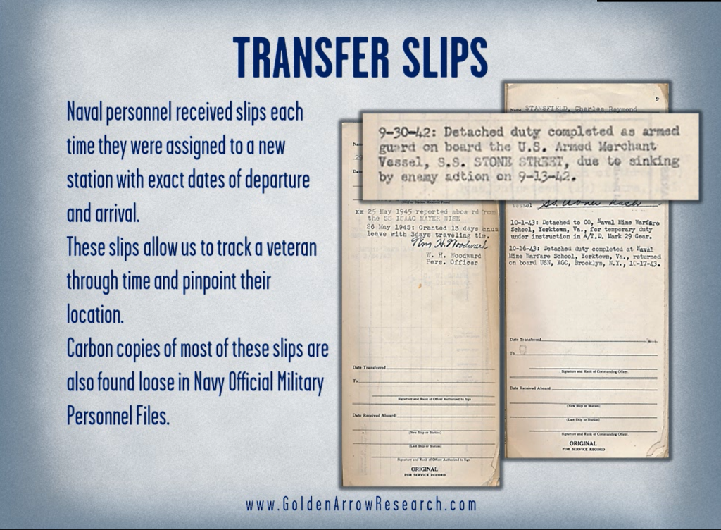 WWII navy veteran transfer slips from military service records inside of the official military personnel file OMPF