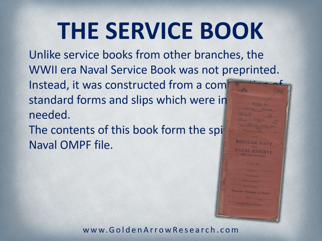 WWII service book for regular navy and naval reserve from a WWII veteran's official military personnel file OMPF at the national archives.