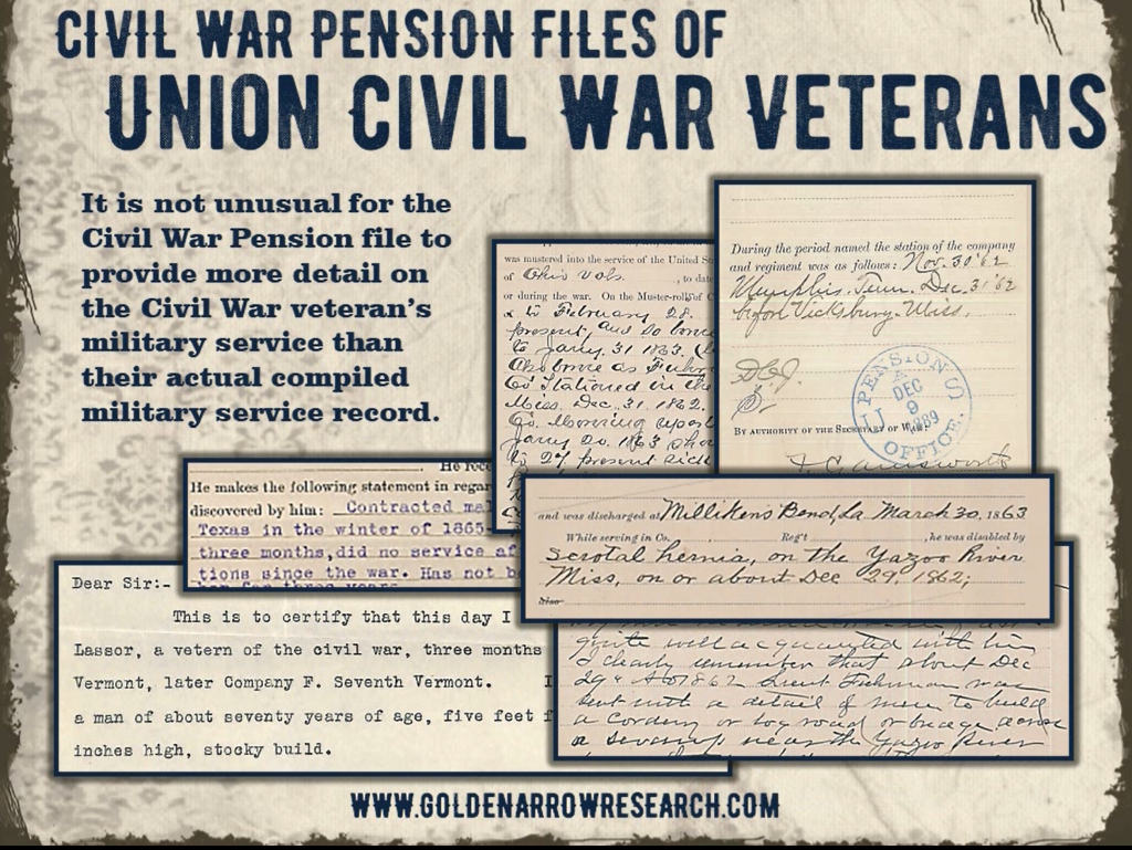 Example of records found in a civil war pension file of civil war soldier from the national archives pension record file.