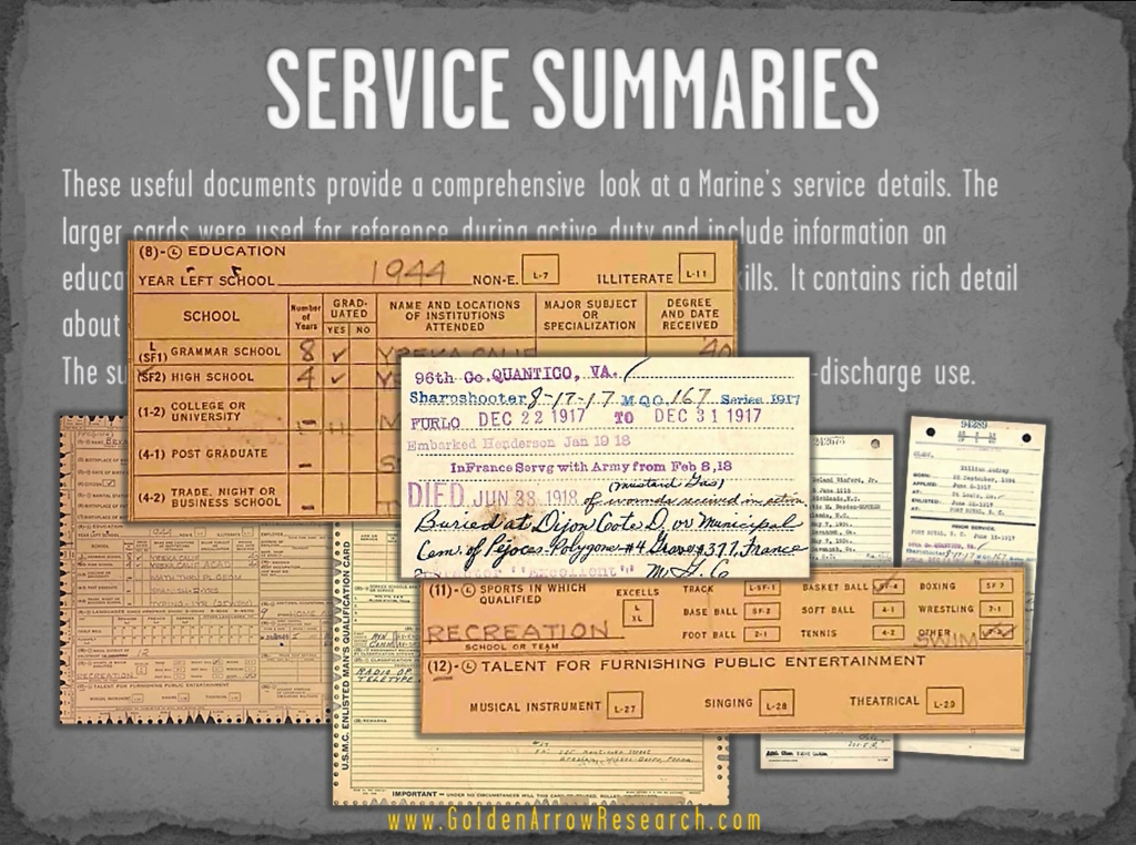 USMC OMPF military record of veteran showing summary of military service in official military personnel file records at NARA NPRC archival research