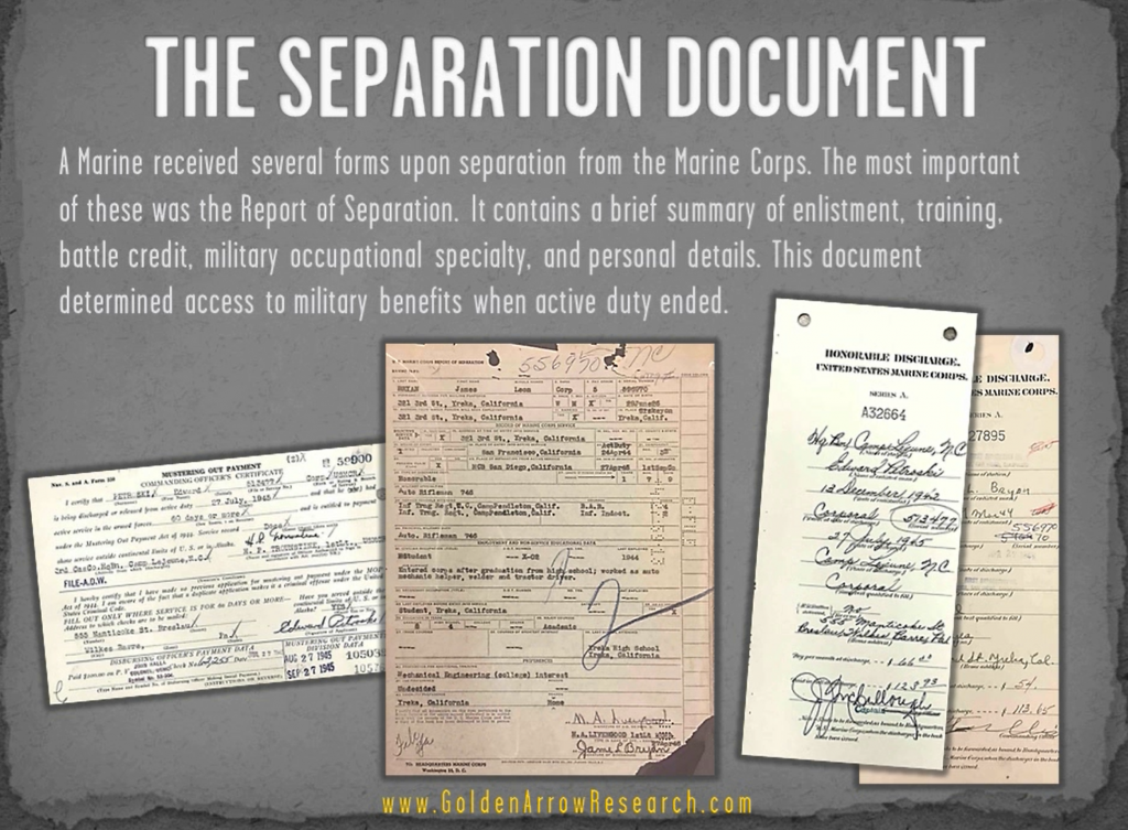 USMC OMPF military record report of separation veteran service records at NARA NPRC official military personnel file archival research