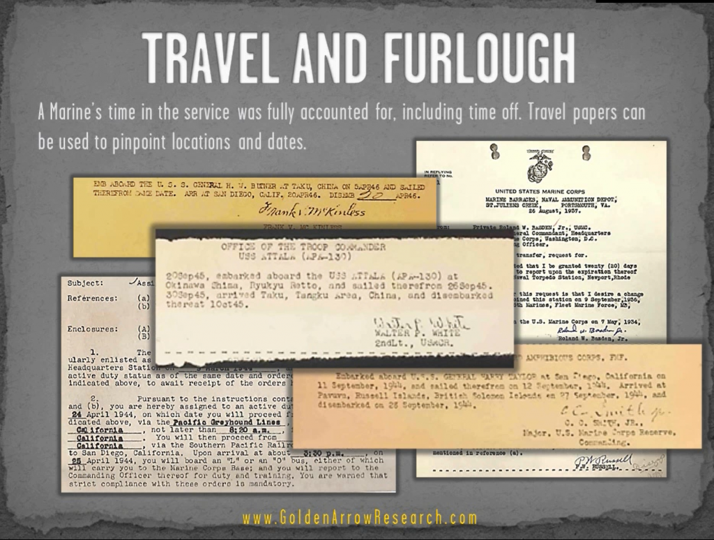 USMC OMPF military record travel and furlough documents from military personnel file archival research at NARA NPRC veteran records