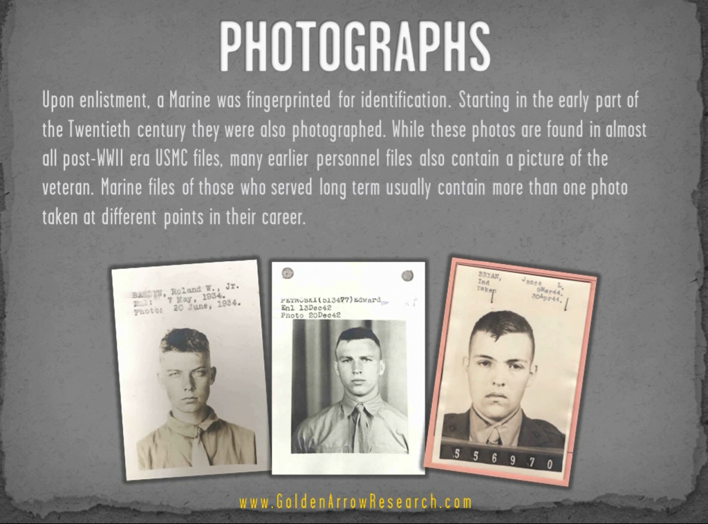 USMC OMPF historical photos of individual marines enlistment photo military record archival research NPRC