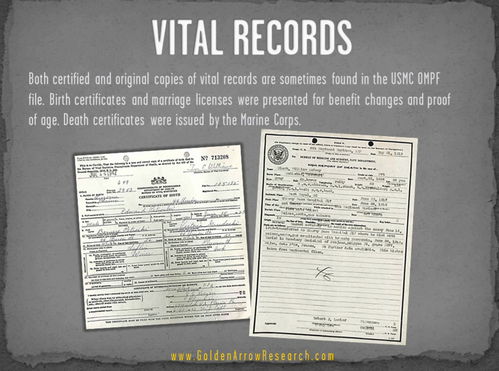 USMC OMPF military records vital records genealogy family research death marriage archival research NPRC personnel file