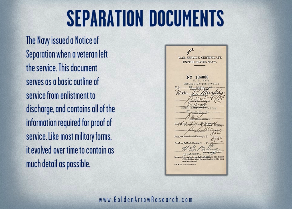 Demobilization document for WWII Navy veteran separation from the Navy from the OMPF military service records at the National Archives