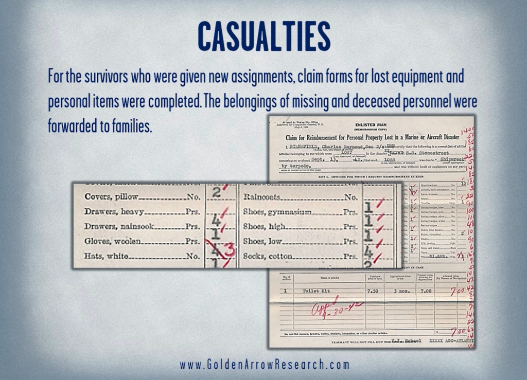 WWII Navy OMPF sailor request for replacement or reimbursement of equipment after sinking of his ship.