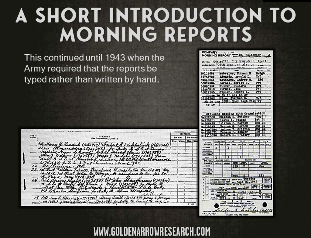 Army morning reports typed in 1943 officers messing with organization Engineer unit reports Edwards, Tipler, Matthews, Barnes Culver