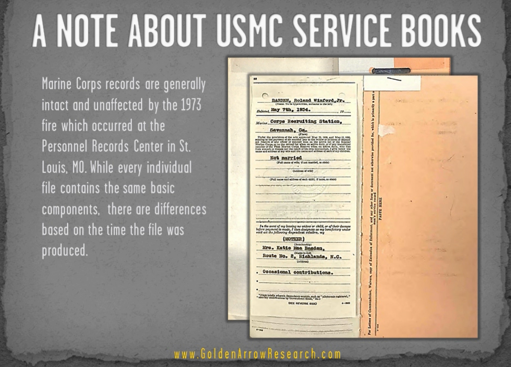 USMC OMPF beneficiary records from military record of veteran archival research of military service records at NPRC