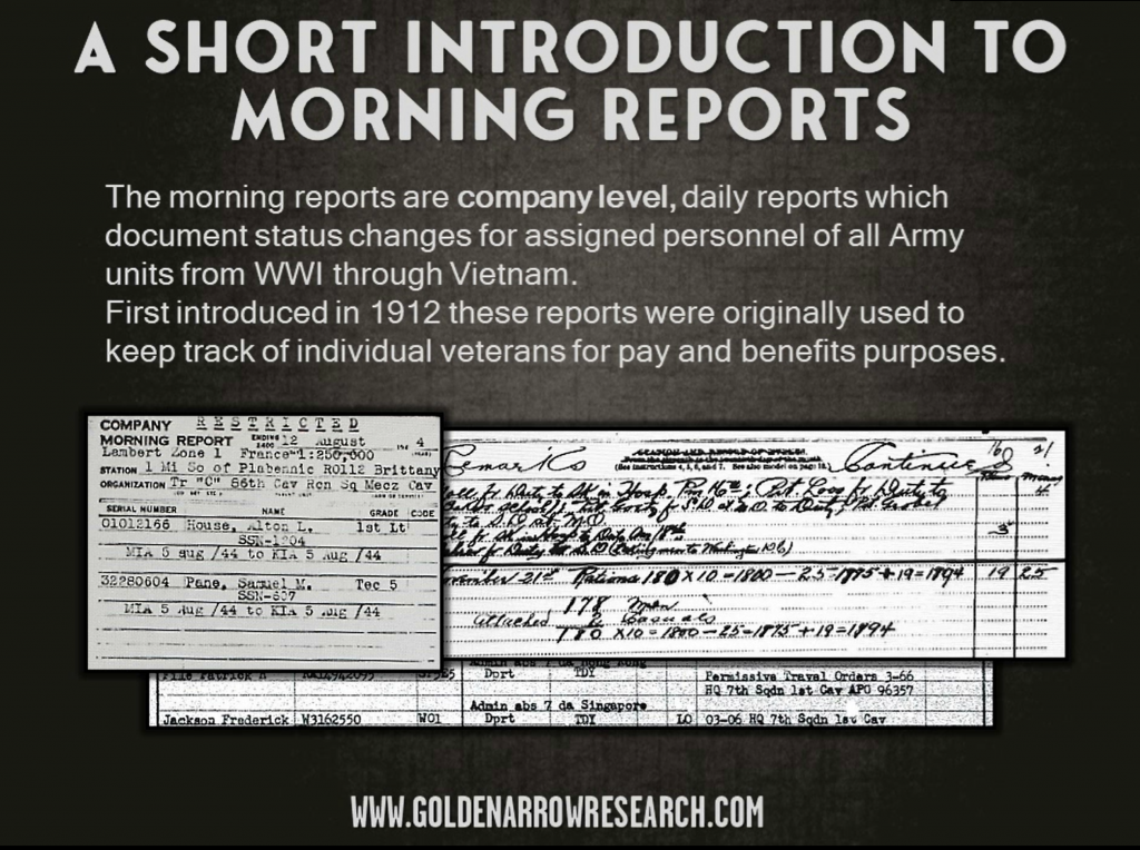 morning reports locate follow movement of individual army veterans 1912-1974